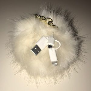 White Furry Portable Charging KeyChain!!